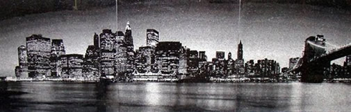 New York Skyline Picture Engraved Granite Tile