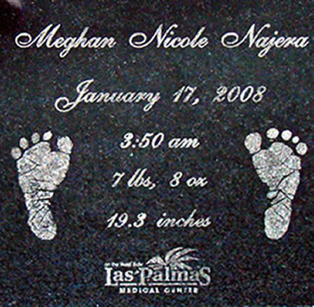 Birth Certificate Baby Feet Engraved Granite Tile