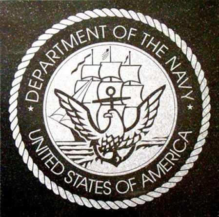 US Navy  Logo Engraved Granite Tile